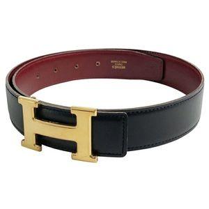 HERMES Black Red Reversible Belt Gold H Buckle